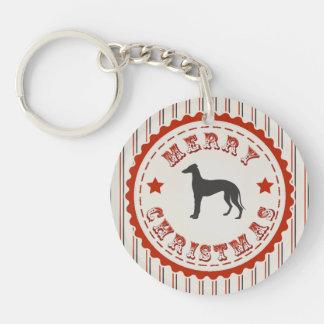 レトロのメリークリスマスのグレイハウンド犬 キーホルダー