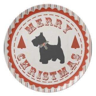 レトロのメリークリスマススコットランドテリア犬 プレート