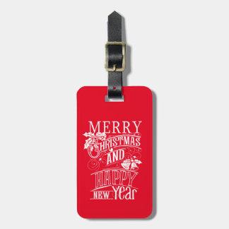 レトロのメリークリスマス及び明けましておめでとう ラゲッジタグ