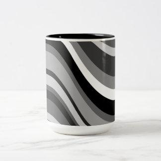 レトロのモダンな波、カーブは灰色を、のギフト白い黒くします ツートーンマグカップ