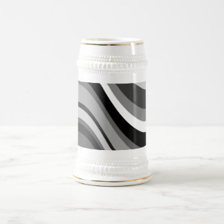レトロのモダンな波、カーブは灰色を、のギフト白い黒くします ビールジョッキ