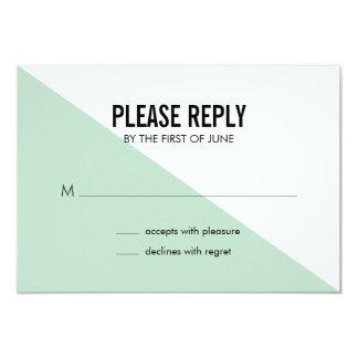 レトロのモダンな色のブロックの結婚式の応答カード(ミント) カード
