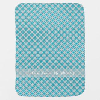 レトロのモダンな連結の円パターンスキューバ青 ベビー ブランケット