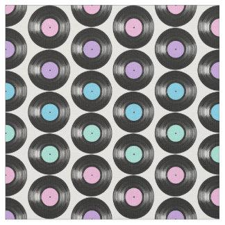 レトロのレコードカラフルなパターンデザイン ファブリック