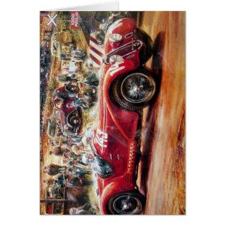 レトロのレースカーの絵画 カード