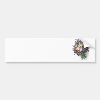 レトロのロマンチックでカラフルなヴィンテージの花花束 バンパーステッカー