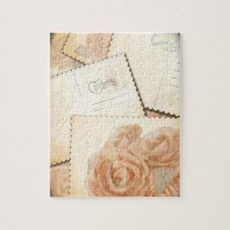 レトロのロマンチックな背景、パズル ジグソーパズル