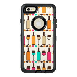 レトロのワイン・ボトルおよびガラス オッターボックスディフェンダーiPhoneケース