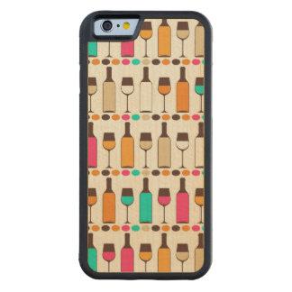 レトロのワイン・ボトルおよびガラス CarvedメープルiPhone 6バンパーケース
