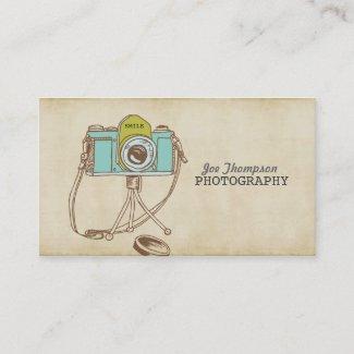 レトロのヴィンテージのカメラのカメラマンの名刺 名刺