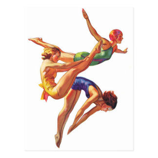 レトロのヴィンテージのスポーツの潜水の泳ぐ人の潜水の芸術 ポストカード