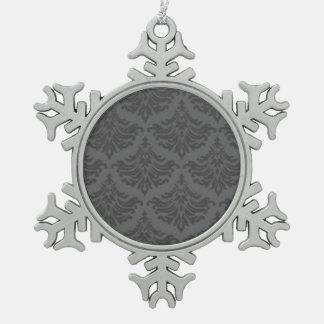 レトロのヴィンテージのダマスク織のブロケードの華麗さの木炭 スノーフレークピューターオーナメント