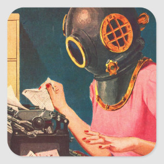 レトロのヴィンテージの低俗で奇妙な飛び込みのヘルメットの秘書 正方形シール