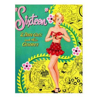 レトロのヴィンテージの低俗で10代のな女の子のSweet sixteenの本 ポストカード