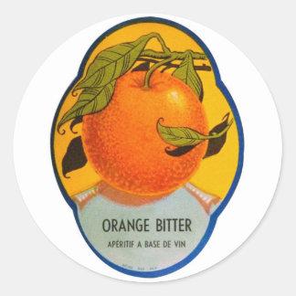レトロのヴィンテージの低俗なアルコール飲料のオレンジ苦いラベル ラウンドシール
