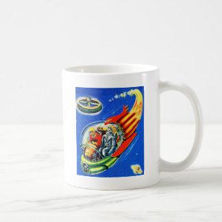 レトロのヴィンテージの低俗なサイファイの宇宙旅行の宇宙船 コーヒーマグカップ