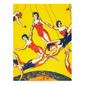 レトロのヴィンテージの低俗なサーカスのブランコ曲芸師 ポストカード