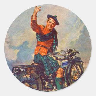 レトロのヴィンテージの低俗なスコットのダグラスのオートバイの広告 ラウンドシール
