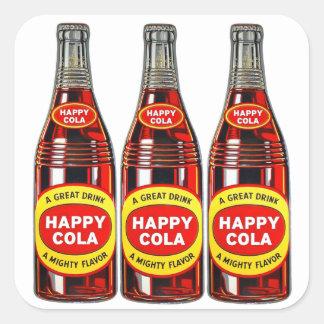 レトロのヴィンテージの低俗なソーダ幸せなコーラのボトル スクエアシール
