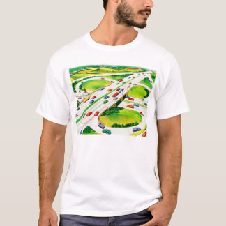 レトロのヴィンテージの低俗なハイウェーのクローバー型交差点 Tシャツ