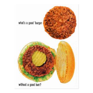 レトロのヴィンテージの低俗なハンバーガーのハンバーガー及びパンの広告 ポストカード