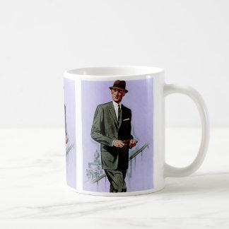 レトロのヴィンテージの低俗なファッションの人のスーツ コーヒーマグカップ