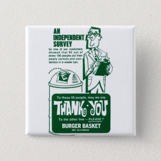 レトロのヴィンテージの低俗なファースト・フードのハンバーガーは感謝していしています 缶バッジ