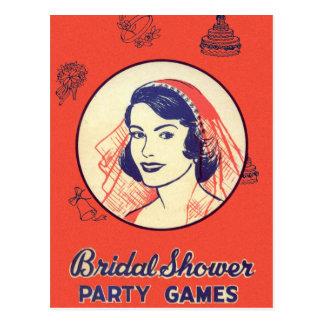 レトロのヴィンテージの低俗なブライダルシャワーのパーティー用のゲーム ポストカード