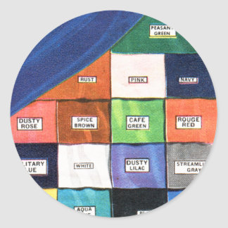 レトロのヴィンテージの低俗な布の絹の平らなクレープカタログ ラウンドシール