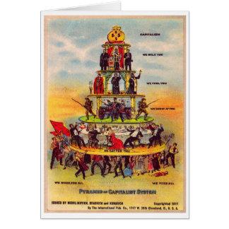 レトロのヴィンテージの低俗な政治の資本主義の郵便はがき カード