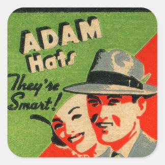 レトロのヴィンテージの低俗な紙マッチの芸術のアダムの帽子の広告 スクエアシール