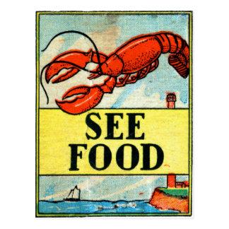 レトロのヴィンテージの低俗な紙マッチの芸術は食糧を見ます ポストカード