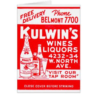 レトロのヴィンテージの低俗な紙マッチのKulwinのアルコール飲料 カード