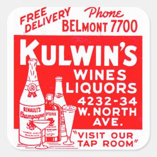 レトロのヴィンテージの低俗な紙マッチのKulwinのアルコール飲料 スクエアシール