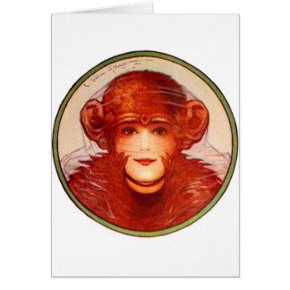 レトロのヴィンテージの低俗な錯覚のチンパンジーか女性か。 カード