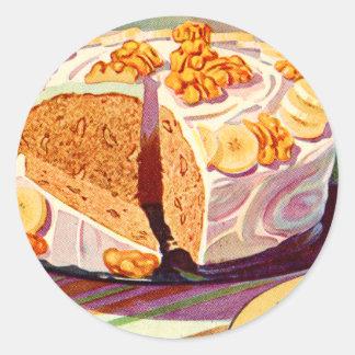 レトロのヴィンテージの低俗な食糧バナナのクルミのケーキの芸術 ラウンドシール