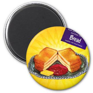 レトロのヴィンテージの低俗な食糧白パンのトースト及び込み合い マグネット