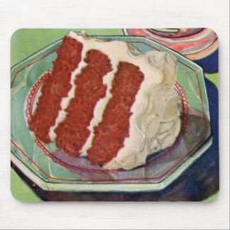 レトロのヴィンテージの低俗な食糧赤いビロードのケーキの芸術 マウスパッド