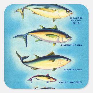 レトロのヴィンテージの低俗な魚の青いひれのマグロの芸術 スクエアシール