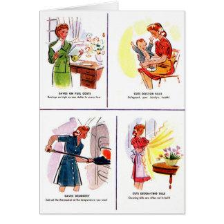 レトロのヴィンテージの低俗な50s女性の主婦の節約 カード