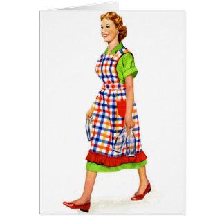 レトロのヴィンテージの低俗な50s郊外の女性の主婦 カード