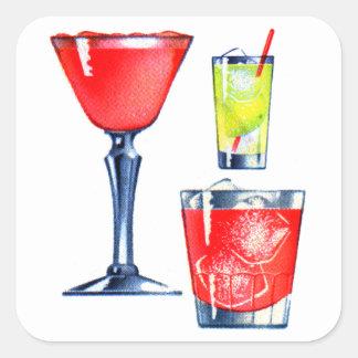 レトロのヴィンテージの低俗な60sカクテルの飲み物のマルティーニ スクエアシール