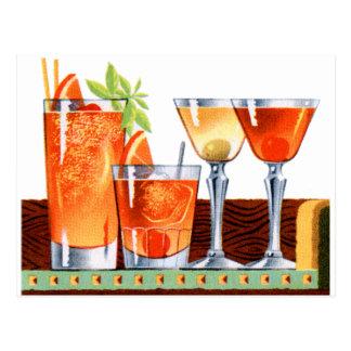 レトロのヴィンテージの低俗な60sカクテルの飲み物のマルティーニ ポストカード