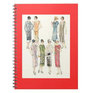 レトロのヴィンテージの女性ファッションのサケのノート ノートブック