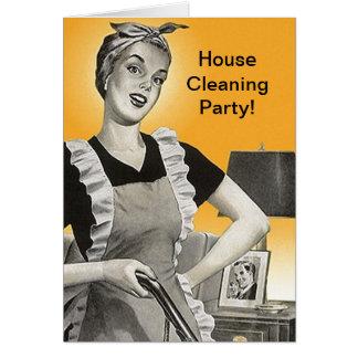 レトロのヴィンテージの家のクリーニングのパーティーのシャワーカード カード