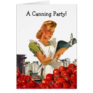 レトロのヴィンテージの家の缶詰になるパーティの招待状カード カード