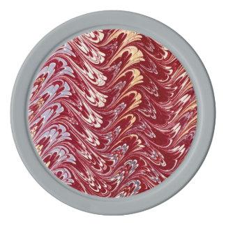 レトロのヴィンテージの渦巻のあずき色の赤い銀の波 ポーカーチップ
