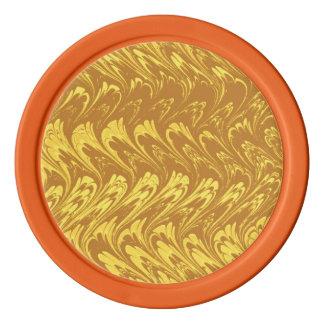 レトロのヴィンテージの渦巻のイエロー・ゴールド ポーカーチップ