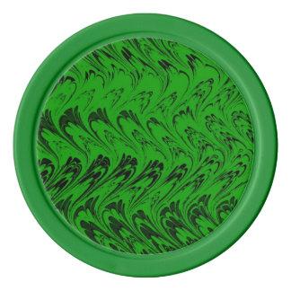 レトロのヴィンテージの渦巻のエメラルドグリーン ポーカーチップ
