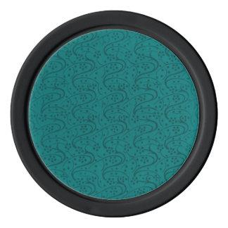 レトロのヴィンテージの渦巻のターコイズのティール(緑がかった色) ポーカーチップ